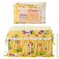 Постельное белье 6предм(одеяло,подуш,подод,навол,прост,защита),желтый,животные