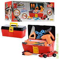 Набор инструментов в чемодане, дрель 12-13см, вращ. сверло, плоскогубцы, пила, отвертки, линейка, гаечный ключ, машинка(разборн), болты
