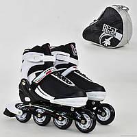 """Ролики 9003 """"L"""" Best Rollers цвет-БЕЛО-ЧЕРНЫЙ /размер 39-42/ (6) колёса PU, без света, в сумке, d=7.6 см"""