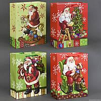 """Подарочный пакет 01482 """"Дед Мороз"""" (480) объёмный """"3D"""", с блёстками, 4 вида, СРЕДНИЙ"""