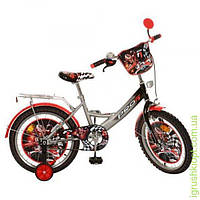 Велосипед детский PROF1 мульт 18д. F1,черно-серый, зеркало, звонок