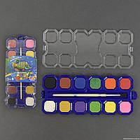 Краски акварельные 01553 (192) 12 цветов, с кисточкой, в кульке