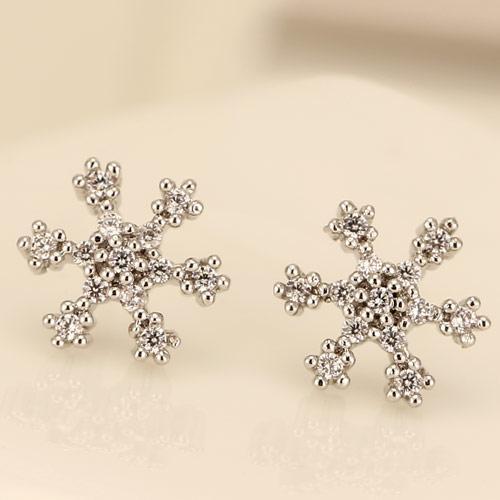 Сережки гвоздики Снежинка тонкая под серебро S004946