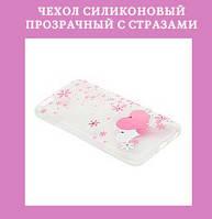 Чехол силиконовый прозрачный с стразами на iphone 6 в упаковке COV-026