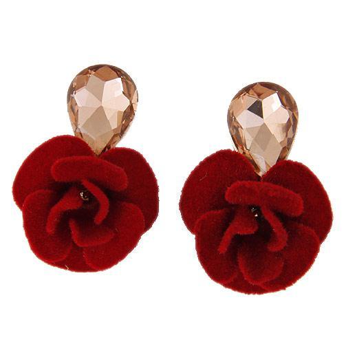 Серьги Красная роза с тканевым цветком  S005486
