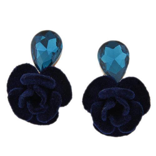 Серьги Синяя роза с тканевым цветком S005487