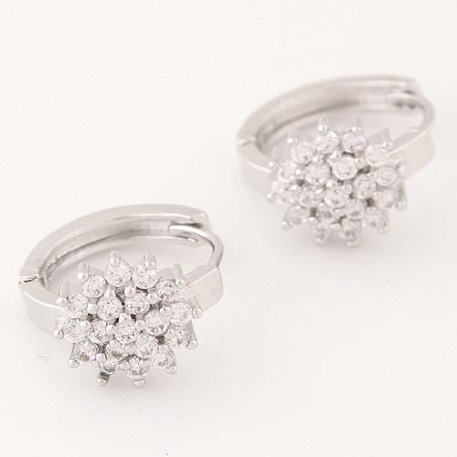 Серьги кольца с маленькими кристаллами под серебро S005546