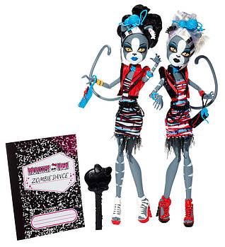 Мяулодия и Пурсефона Зомби Шейк (Monster High Zombie Shake Meowlody and Purrsephone Doll)
