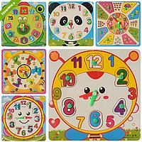 Деревянная игрушка Часы MD 0959 рамка-вкладыш с ручкой, 4 вида, в кульке 18-18-1см
