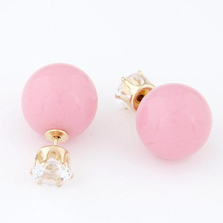 Серьги шарики двойные пластиковые розовые S005691