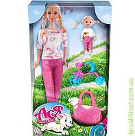 """Набор с куклой Асей """"Семейная прогулка"""", блондинка, и мал. куклой 11 см, вариант 1, PS"""
