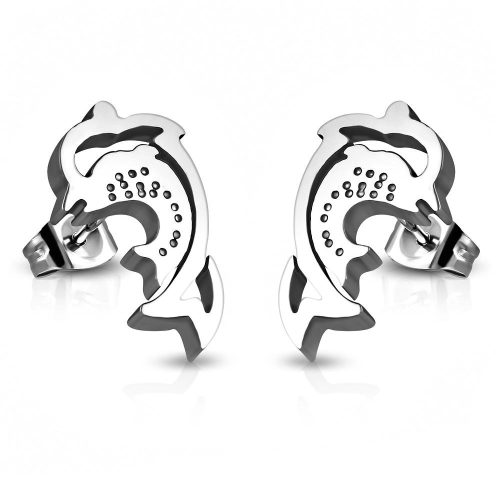 Сережки гвоздики Дельфины под серебро S005876