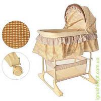 Кровать детская качалка, колеса 4шт, крыша, корзина, бежевый, в кор-ке