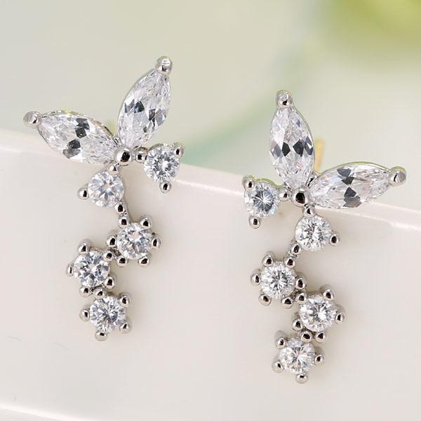 Сережки с камнями под серебро S006187