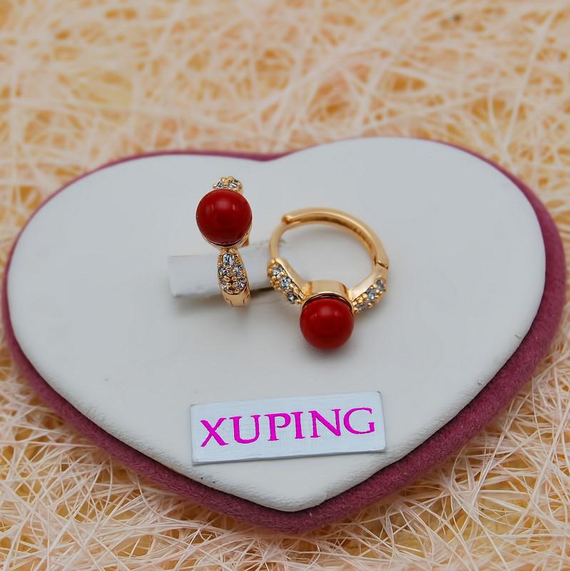 Серьги XUPING кольца позолота 18К с красной бусиной S006527