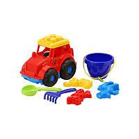 """Трактор """"Кузнечик"""" №3: трактор, ведёрко, лопатка и грабельки (ЛГ3) и три пасочки (П3) арт. 0220"""