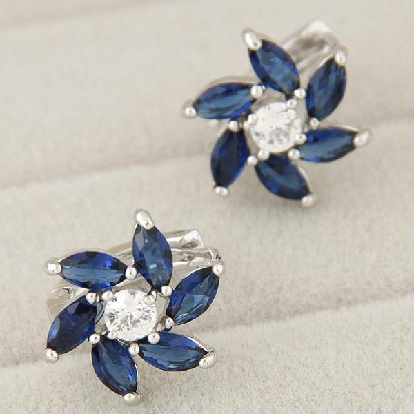 Серьги с камнями Цветок синие под серебро S007617