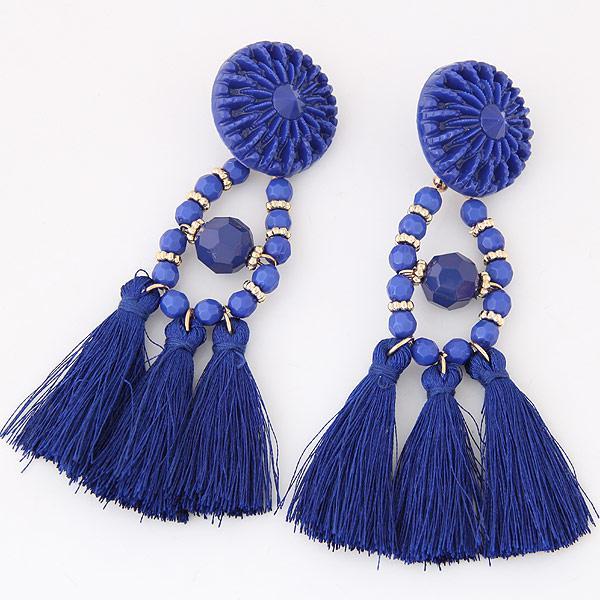 Серьги Кисточки синие с бусинами S008735