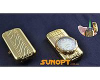 Зажигалка карманная с часами Сердечко (Турбо пламя) №XT-3922 Gold