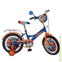 Велосипед детский PROF1 мульт 16д. Racing,оранж-синий,зеркало,звонок