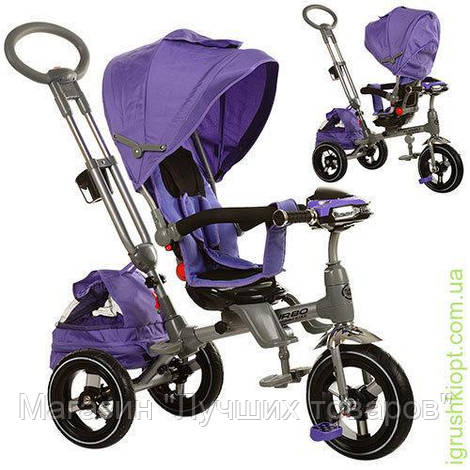 Велосипед три кол., рез(12/10), поворот, MP3/SD/FM.фикс.руля, пед, фиолет