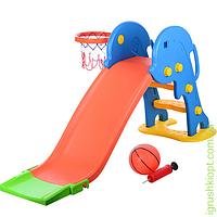 Горка YTE00199 пластик, д162-ш51-в75см, горка 115см, баскетбольное кольцо, мяч, сетка, насос