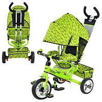 Велосипед М 5363-2-3 три колеса, колясочный, зеленый, усиленная двойная ручка