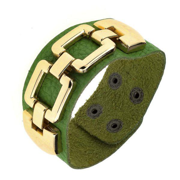 Кожаный зеленый браслет с золотой цепочкой B001296