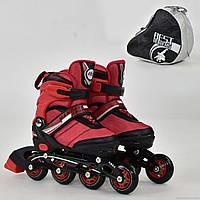 """Ролики 8901 """"S"""" Best Rollers цвет-КРАСНЫЙ /размер 31-34 (30-33)/ (6) колёса PU, без света, в сумке, d=6.4 см"""