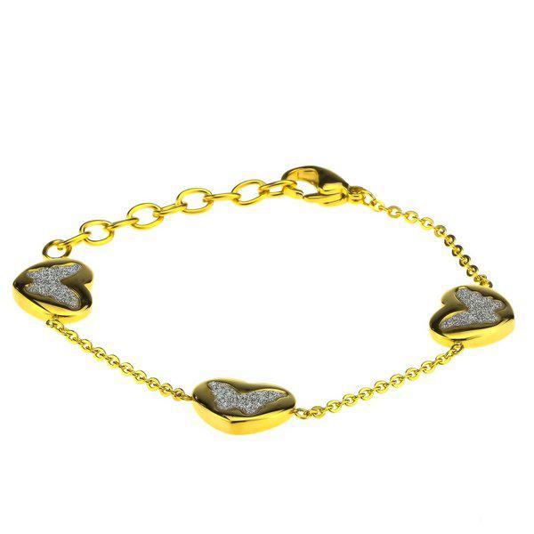Браслет тонкий Три сердца на цепочке под золото B001857