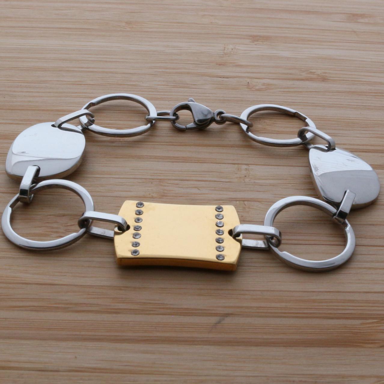 Браслет цепочка с золотой пластиной стальной B002048