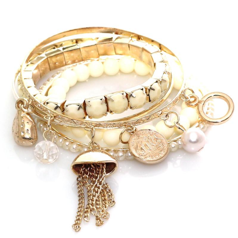 Набор браслетов Золотой с монетками  B002187