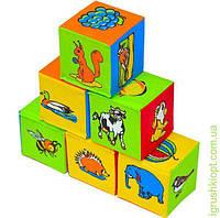 """Кубики мягкие .6 шт. """"Живой мир""""1 кубик-8см"""