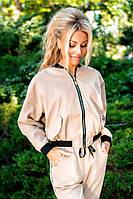 Молодежный бежевый спортивный женский костюм парка с атласной подкладкой..Арт-6099/91, фото 1