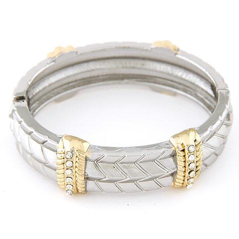 Браслет кольцо под серебро с золотыми вставками и камнями B002855