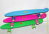 Скейт пенниМВ214, подножка 69*19 см, колеса ПУ 60 мм прозрачные с подсветкой