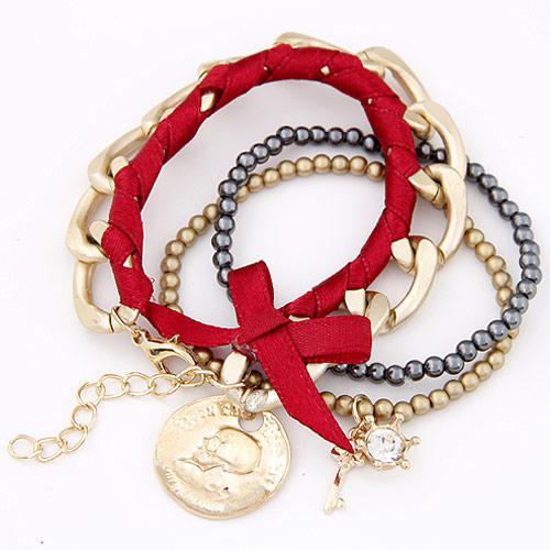 Набор браслетов с подвеской Монетка под золото B003284