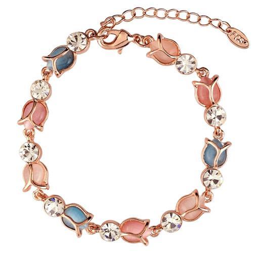 Браслет тонкий Розово-голубые тюльпаны B003888