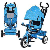 Велосипед М 5363-1 Foam, три колеса, колясочный, голубой, усиленная двойная ручка