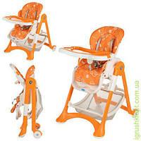 Стульчик для кормления,кол2шт,рег.спинка,рем.без,корз,оранж-бел,в кор-ке