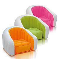 Велюр кресло 68597 детское надувное кресло, размер 69-56-48см, (зеленое, розовое, оранжевое),