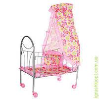 Кроватка для куклы, желез, 77-47-29см, балдахин, подушка, кол.повор, 4шт, в кор-ке