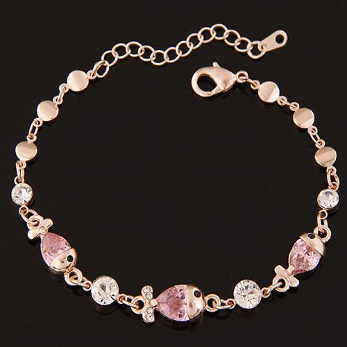 Браслет Тюльпаны с розовыми камнями B005104