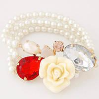 Браслет жемчужный тройной с большой Розой B005454