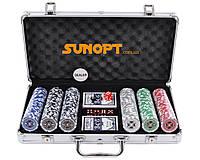 Покерный набор в алюминиевом кейсе на 300 фишек с номиналом (39x21x8см ) №300n