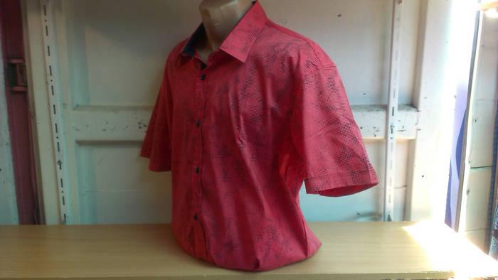 Мужская стильная рубашка большого размера батал Gissi с коротким рукавом красная Одесса