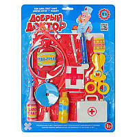 Доктор на листе M 2379 чемодан, ножницы, шприц, градусник, повязка,бинт, бутылочки стетоскоп, зеркало, грелка,