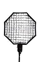 Софтбокс зонт для вспышки восьмиугольный 80см + сетка (28011-A)