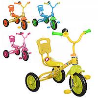 Велосипед M 1190 (4шт) 3 колеса, голубой, розовый, желтый