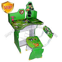 Парта 501 (1шт) B10, регулир-я высота, со стульчиком, зеленый, в кор-ке, 109-68,5-40см